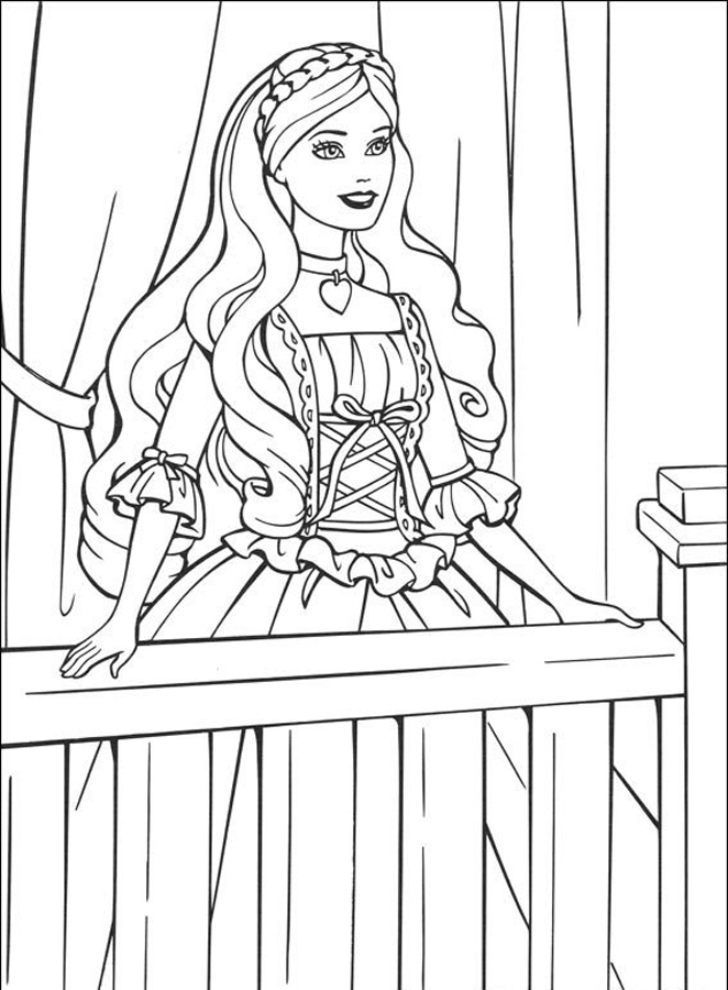 The Girl In Balcony Picture Coloring