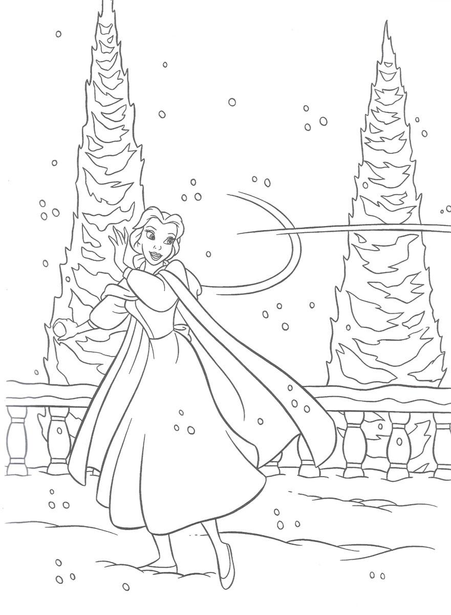 Beauty Beast Winter Picture Coloring