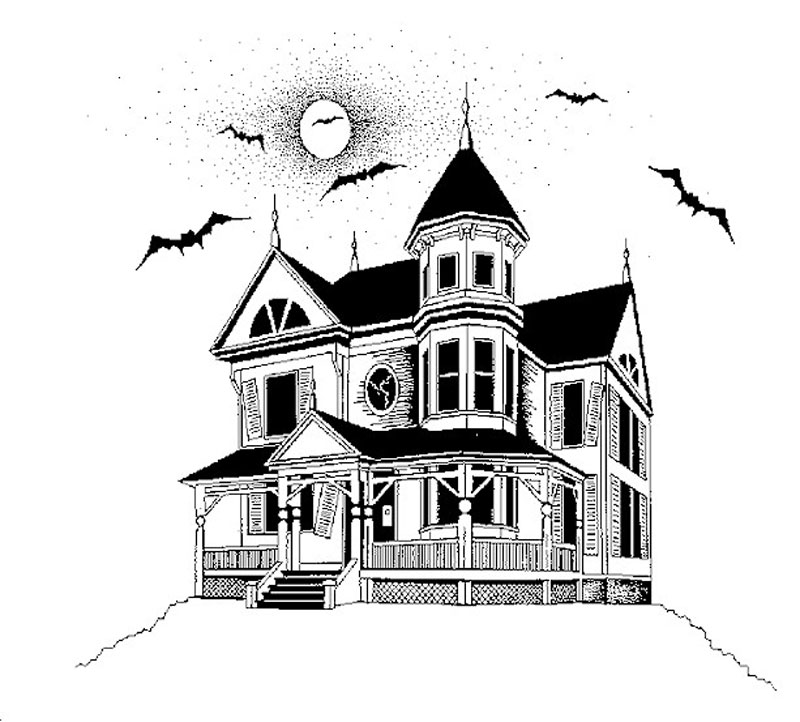 Haunted House Printable Halloween Kids Coloring Page ... | 722x800