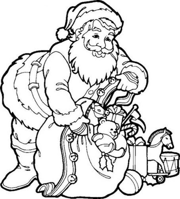 Santa Christmas Coloring Pages - Santa stuffing a stocking | 800x726