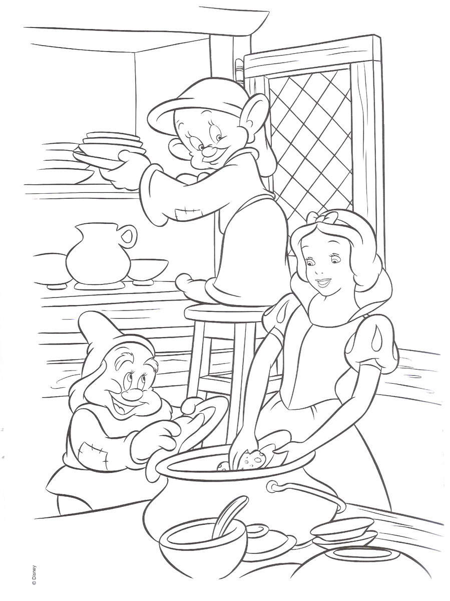 Little Girl Cooking Coloring Page Stock Vector - Illustration of ... | 1200x899