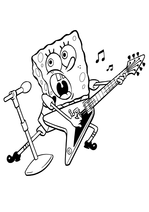Homer playing the guitar coloring pages - Hellokids.com | 842x595