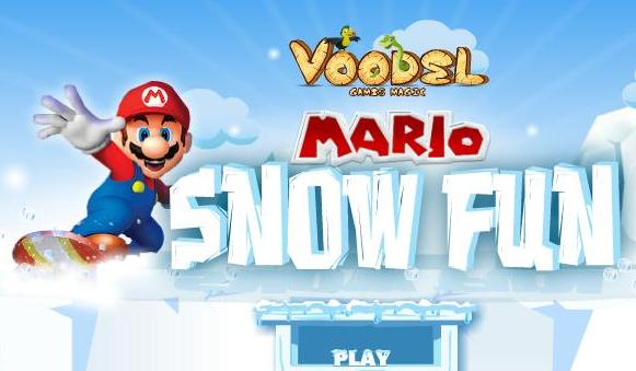 play super mario snow fun game 2014