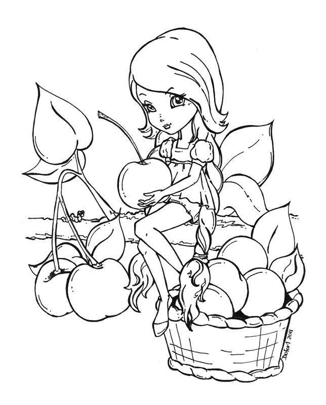Fruit Basket Girl Picture Coloring Pages موقع العاب شمس فلاش Al3ab Flash Games